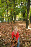 Plays with dry leaves Stock Photography