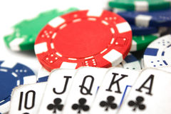 Plays poker. With colored chips stock photos