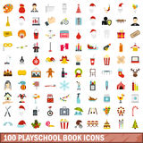 100 playschool book icons set, flat style. 100 playschool book icons set in flat style for any design vector illustration Vector Illustration