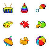Playschool icons set, cartoon style. Playschool icons set. Cartoon illustration of 9 playschool vector icons for web Stock Photos