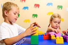Playschool met blokken Stock Fotografie