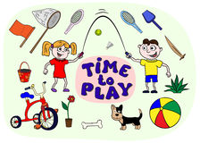 Playset. Boy and Girl playing with different toys Royalty Free Stock Photography
