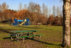Playset rural del parque del condado Imagen de archivo