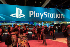 PlayStation booth at E3 2014. LOS ANGELES - JUNE 12: PlayStation booth at E3 2014, the Expo for video games on June 12, 2014 in Los Angeles Stock Photos