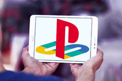 Playstation logo. Logo of playstation on samsung tablet Royalty Free Stock Images