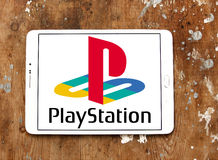 Playstation logo. Logo of playstation on samsung tablet on wooden background Royalty Free Stock Photography