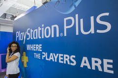 Playstation stand at Games Week 2014 in Milan, Italy Stock Photography