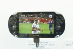 Playstation Vita Play Movie. Sony New Portable Game Console Playstation Vita Stock Photo
