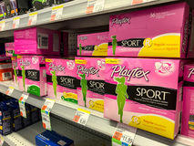 Playtex Sport products. New York, August 7, 2017: Playtex Sport feminine tampons stand on a shelf in Duane Reade Stock Images