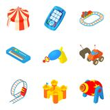 Plaything icons set, cartoon style Stock Photography