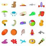 Plaything icons set, cartoon style Stock Image