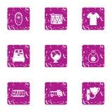 Plaything voor kinder geplaatste pictogrammen, grunge stijl royalty-vrije illustratie
