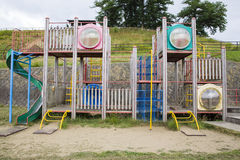 Playthings without children. Playthings at playground without children Stock Photo