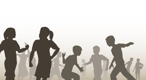 Playtime. Editable  illustration of children in a playground Stock Photo