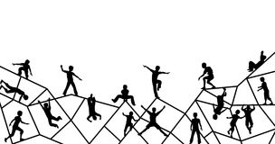 Playtime. Editable vector foreground silhouette of kids playing on an abstract climbing frame with all elements as separate objects Stock Images