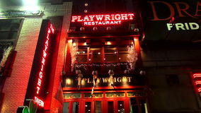 Playwright Restaurant and Playwright Tavern USA cityscapes stock video