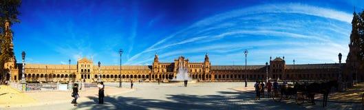 Plaza在塞维利亚的de西班牙全景  库存图片