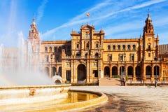 Plaza在天时间的de西班牙 塞维利亚西班牙 库存照片