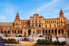 Plaza在天时间的de西班牙 塞维利亚 免版税库存图片