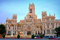 Plaza在黄昏的de Cibeles,马德里,西班牙 免版税图库摄影