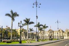 Plaza的de阿玛斯政府宫殿在利马,秘鲁 库存照片