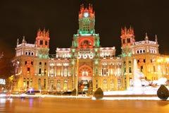 plaza βασιλική Ισπανία palacio γραφείων νύχτας ταχυδρομείου ανασκόπησης cibeles comunicaciones correos de fountain Μαδρίτη Στοκ φωτογραφίες με δικαίωμα ελεύθερης χρήσης