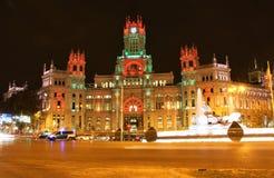 plaza βασιλική Ισπανία palacio γραφείων νύχτας ταχυδρομείου ανασκόπησης cibeles comunicaciones correos de fountain Μαδρίτη Στοκ εικόνα με δικαίωμα ελεύθερης χρήσης