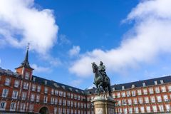 Plaza δήμαρχος King Philip ΙΙΙ στη Μαδρίτη Στοκ Φωτογραφία