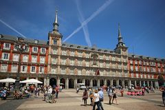 Plaza δήμαρχος Major Square στη Μαδρίτη, Ισπανία Αυτό είναι το κύριο ιστορικό τετράγωνο της Μαδρίτης Στοκ Εικόνες