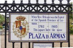 Plaza Δ Armas στη γαλλική συνοικία της Νέας Ορλεάνης - ΝΈΑ ΟΡΛΕΆΝΗ, ΛΟΥΙΖΙΆΝΑ - 18 Απριλίου 2016 Στοκ φωτογραφία με δικαίωμα ελεύθερης χρήσης