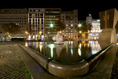plaza Ισπανία νύχτας πηγών διακοσμήσεων Χριστουγέννων της Βαρκελώνης Καταλωνία Στοκ φωτογραφία με δικαίωμα ελεύθερης χρήσης