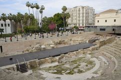 Plaza που βλέπει από το θέατρο της Ρώμης Στοκ Φωτογραφίες