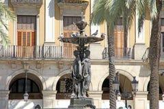 Plaza πραγματική Βαρκελώνη Καταλωνία Ισπανία Στοκ Εικόνες