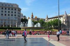 Plaza πραγματικό, Βαρκελώνη, Ισπανία Στοκ Εικόνες