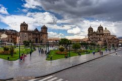 Plaza σκηνής οδών σε Cusco Περού Στοκ Εικόνες