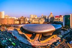 Plaza σχεδίου Dongdaemun, εναέρια άποψη, Σεούλ, Νότια Κορέα Στοκ Φωτογραφία