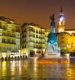 Plaza του Andre Μαρία Zuriaren στο χρόνο βραδιού Vitoria-Gasteiz Στοκ φωτογραφίες με δικαίωμα ελεύθερης χρήσης
