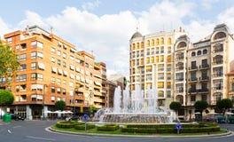 Plaza Alferez provisional con el fontain en Logrono Imagen de archivo