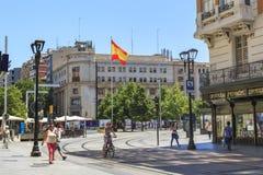 Plaza av Spanien i Zaragoza, Spanien Arkivbilder