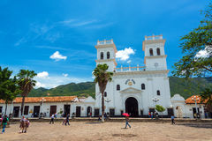 Plaza and Basilica in Giron, Colombia. GIRON, COLOMBIA - MAY 3: View of the basilica and main plaza in Giron, Colombia on May 3, 2016 Stock Images