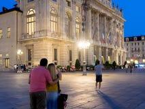 Plaza Castello de la ciudad de Turín Italia con el turista Fotografía de archivo libre de regalías