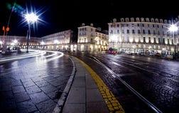 Plaza Castello de la ciudad de Turín Italia con la exposición larga Fotografía de archivo libre de regalías