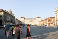 Plaza Castello en Turín Italia/Italia Imagenes de archivo