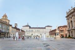 Plaza Castello Turín Foto de archivo libre de regalías