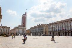 Plaza Castello Turín Imagen de archivo libre de regalías