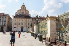 Plaza Castello Turín Fotos de archivo libres de regalías