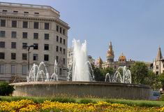 Plaza Catalunia Barcelona Stock Photography