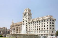 Plaza Catalunia Barcelona. A fountain and the historical buildings of Plaza Catalunia, Barcelona, Spain royalty free stock photos