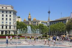 Plaza Catalunia, Barcelona, Spain. Plaza Catalunia and fountains, Barcelona, Spain stock image