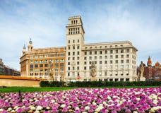 Plaza Catalunya ή πλατεία της Καταλωνίας στη Βαρκελώνη, Ισπανία Στοκ Εικόνα